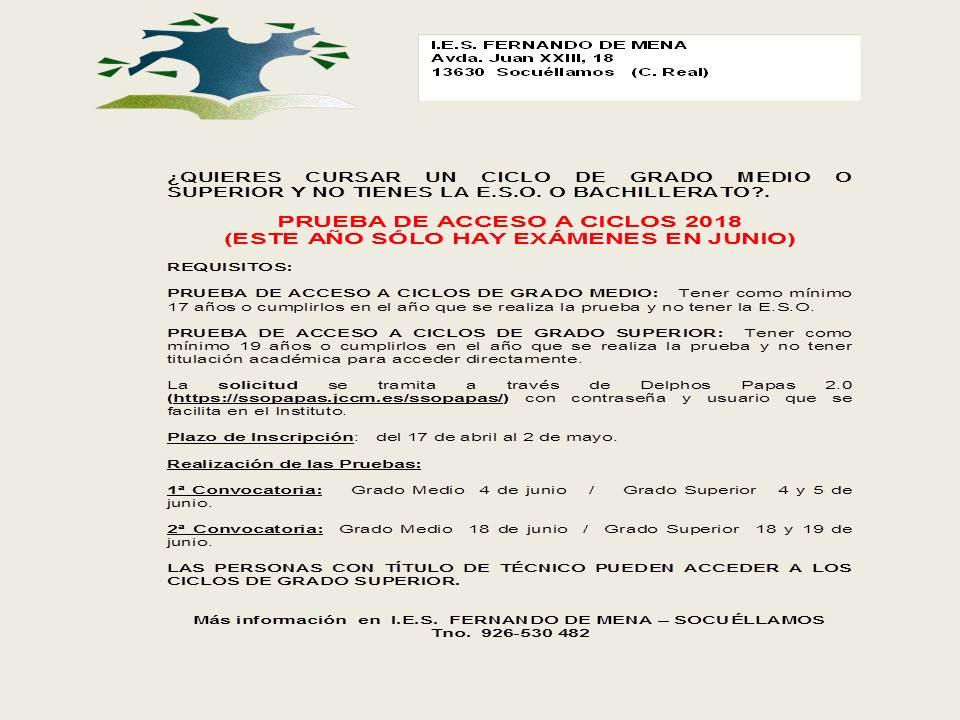 Pruebas De Acceso A Ciclos Formativos Ies Fernando De Mena